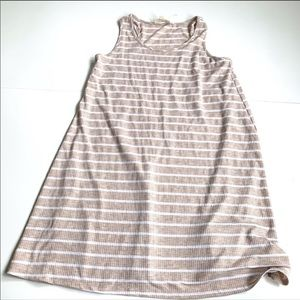 Pink rose striped cream white dress large